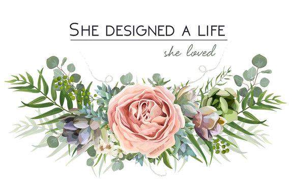 Vector floral bouquet design: garden pink peach lavender Rose flower, Eucalyptus branch green fern palm leaves, succulent berry Watercolor designer element. Wedding vector invite illustration postcard