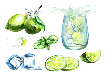 Mojito set with Ice cubes, lime and mint leaves isolated on white background set. Watercolor hand drawn illustration