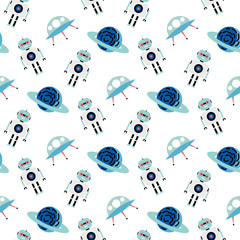 Estores personalizados infantiles con tu foto Seamless space pattern background. Vector illustration galaxy background with robot, spaceship