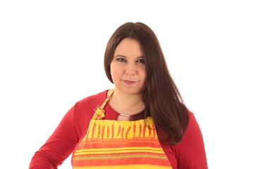 Frau mit Küchenschürze freigestellt