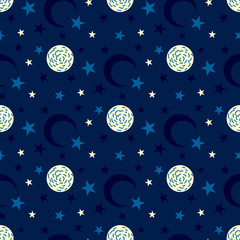 Seamless pattern with moon and star. Moon and star background.