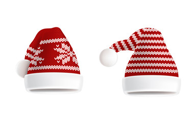Vector 3d realistic illustration of two knitted santa hats with decorative pattern on them, isolated on white background. Christmas traditional red headdress, element of festive costume