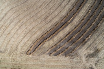 Lines on harvested wheat field