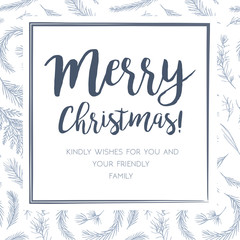 Merry Christmas greeting card, postcard vector design: hand drawn blue gray winter tree pine needles, juniper branch, blue spruce, cedar leaf silhouette print background. Winter cute  wedding invite