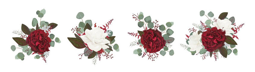Vector floral bouquet design: garden red burgundy rose white peony flower amaranthus Eucalyptus branch greenery leaves berry. Wedding vector invite card Watercolor designer editable element set bundle Wall mural