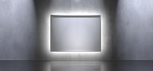 3D Rendering Of Interior Background With Box Poster And Light On Concrete Surface With Reflections