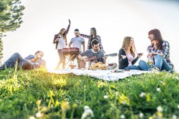 Friends having fun in a park