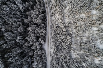 Aerial view of road passing through snow cover landscape