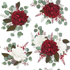 Vector Seamless floral pattern design drawn in watercolor style: garden white peony, burgundy red Rose flowers, seeded Eucalyptus branch, green fern greenery leaves. Bohemian romantic background print