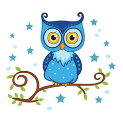 Blue owl sitting on a tree. Vector illustration.