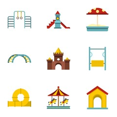 Kids playground icons set, flat style