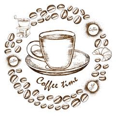 Coffee sketch icons set