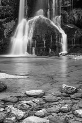 Beautiful Waterfall Virje in long exposure in black and white, Slovenia