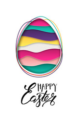 Happy Easter greeting card. Colorful striped Easter egg and 3d abstract multicolor paper cut shapes isolated on white background. Vector illustration.