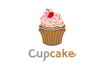Cupcake Delicious Logo Design Symbol Illustration