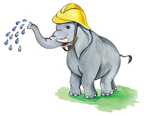 Cute elephant firefighter. Watercolor painting.