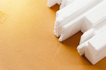 White polystyrene foam, material for packaging or craft applications
