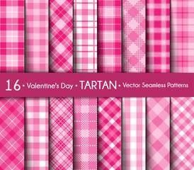 Valentine's Day Tartan Seamless Pattern Background.