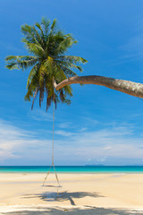 Wooden swing hanging on the beach on tropical island.