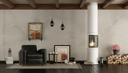 Retro living room with wood stove