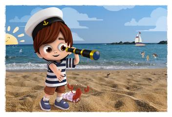 Niño en la playa con un catalejo