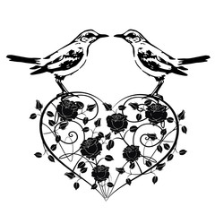 heart with birds vintage