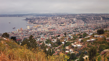 Panoramic view of Valparaiso, Chile, overlooking the port