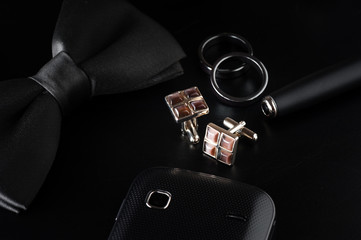 shiny cufflinks with gemstones