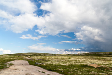 Papiers peints Arctique Dirt road in tundra in the north of Russia