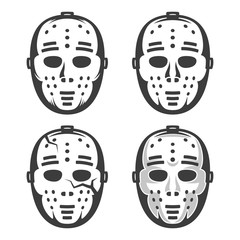 Classic vintage hockey goalkeeper mask from the 60's. Set of four options - including with crack and shadows.