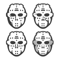 Retro hockey goalie mask - set of four options. Monochrome vector illustration.