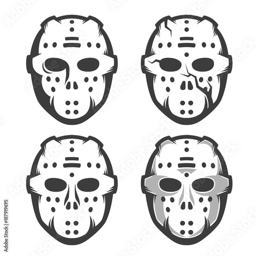Retro Hockey Goalie Mask Set Of Four Options Monochrome Vector