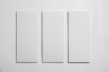 Blank sheets of paper on white background. Mock up for design