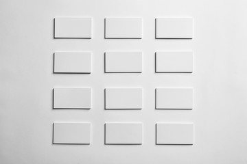 Mock up of business cards on white background