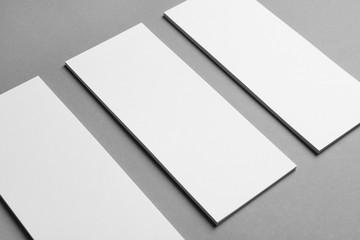 Blank cards on grey background. Mock up for design