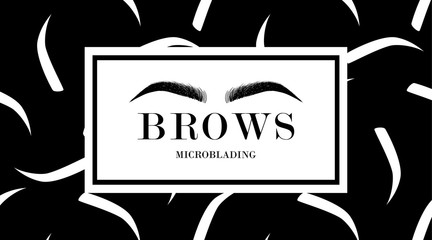 Brow design logo business card template with hand drawing eyebrow and with eyebrows seamless print on black background. Vector logo for beauty studio brow bar, Female graphic Eyebrow Illustration