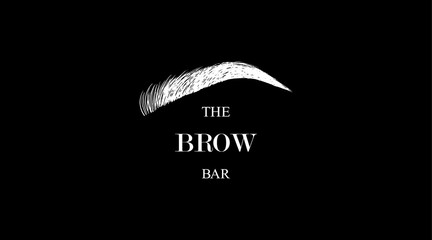 The Brow Bar logo for beauty studio with white hand drawing eyebrow on a black background. Female Eyebrow Vector Illustration Isolated