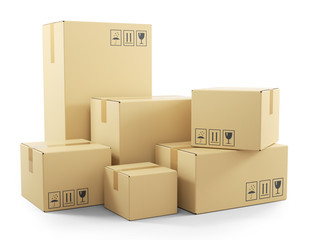 Group of goods in cardboard boxes. 3d