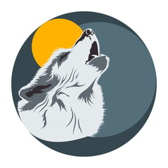 Wolf head poster. Light. Vector illustration of a wolf howling at the moon.