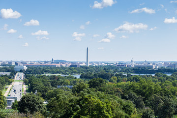 View of Washington DC from Arlington National Cemetery on Abraham Lincoln Monument and the US Capitol