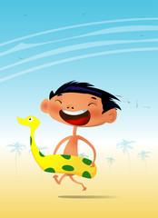 Cartoon boy have fun on the beach.