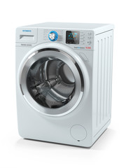 Modern white washing machine. 3D
