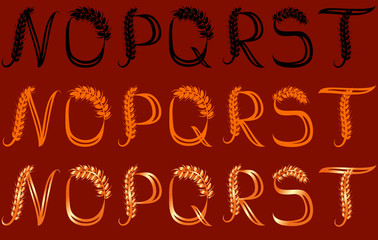 Wheat Letters (N, O, P, Q, R, S, T) in three versions