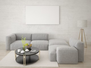 Mock up poster living room with a large corner sofa and a light background.