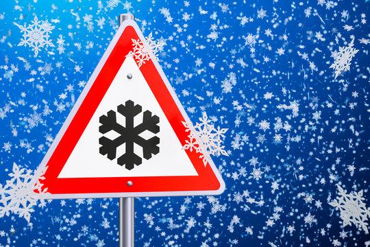 Beware of ice or snow, road sign. 3D rendering