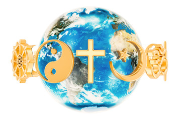 Religions symbols around the Earth Globe, 3D rendering