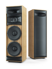 Two big tower sound speakers Hi-Fi stereo system. 3D