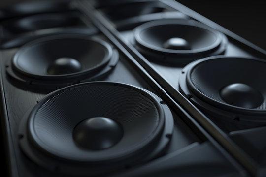 Hi-Fi acoustic sound system closeup. Macro shot.