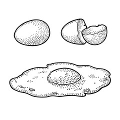 Fried egg and broken shell. Vintage black engraving illustration