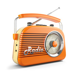 Vintage orange FM portable radio. 3D